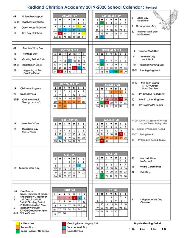 Calendrier Avent Kinder 2020.School Calendar Redland Christian Academy